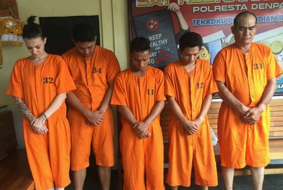 Lima tersangka tindak pidana narkoba yang berhasil diamankan Polresta Denpasar, foto;istimewa