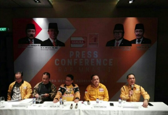 Konferensi pers Rapimnas Partai Hanura I, di Kuta, Bali, Kamis, 03/08/2017. Foto; wahyu